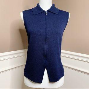 St. John navy zip Santana knit sweater vest P0526